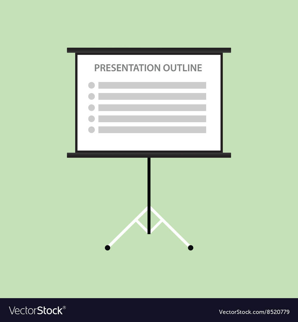 Presentation board with outline list green