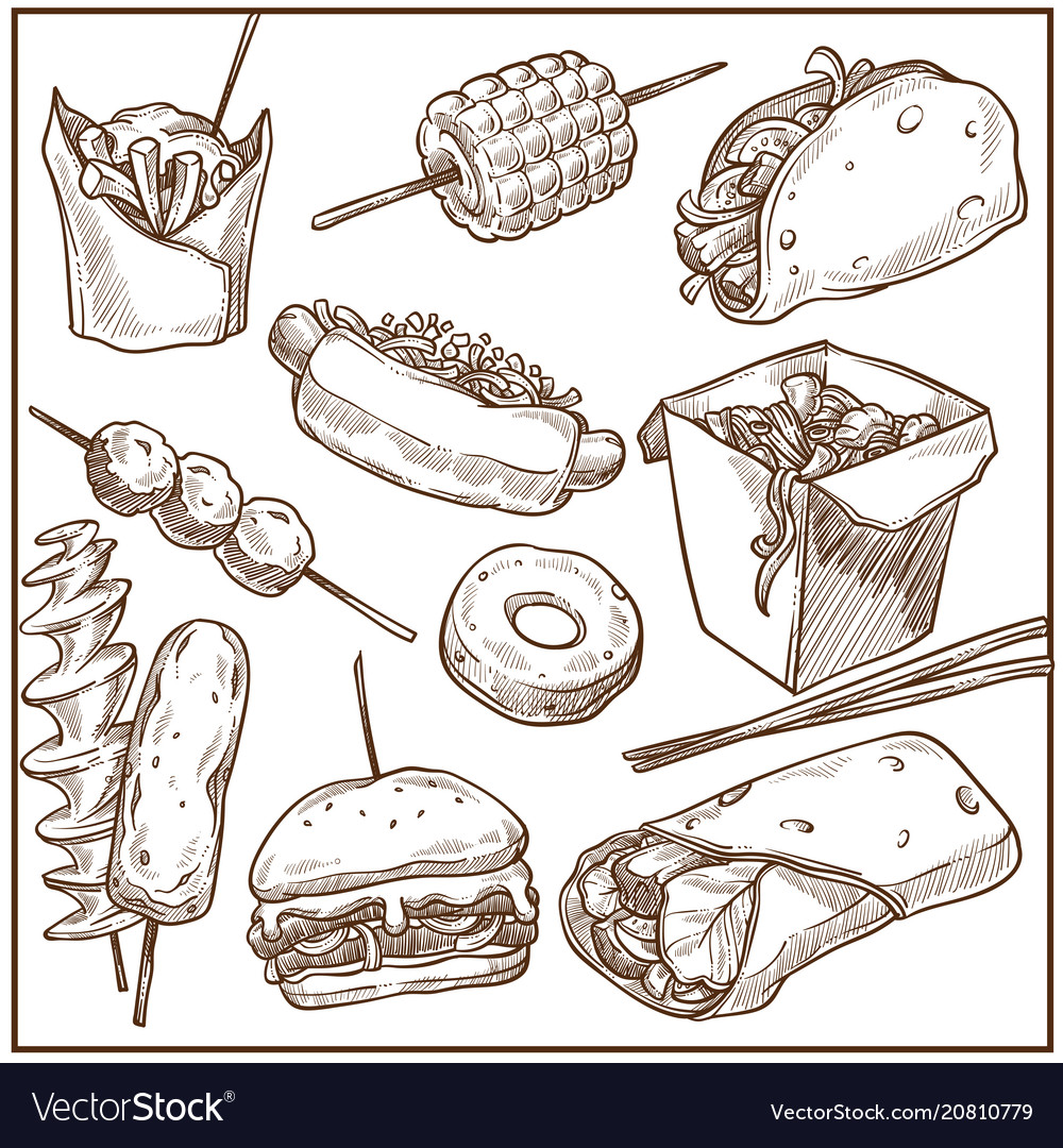 Rich delicious fast food dishes big monochrome