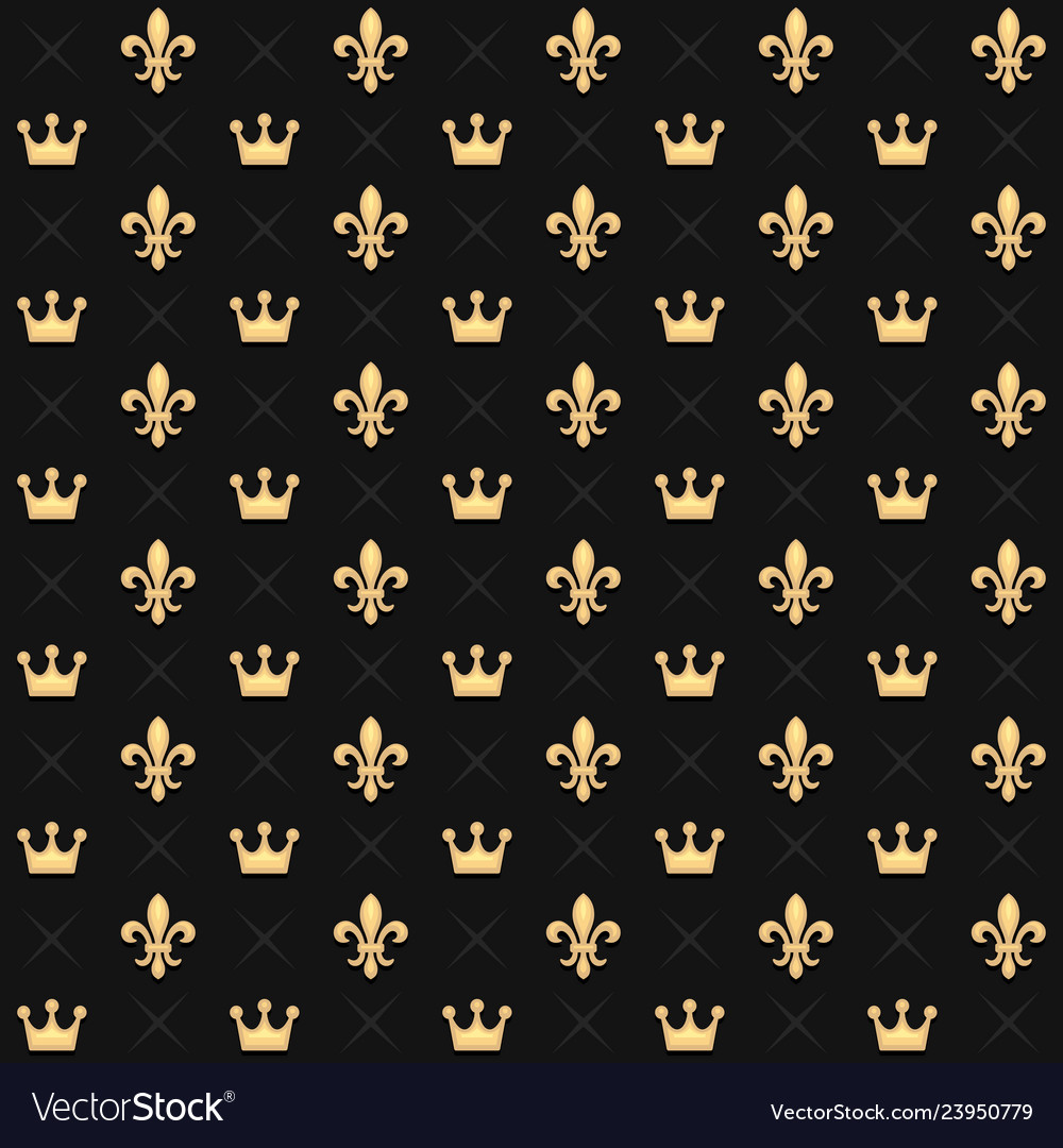 Seamless pattern with king crowns and royal