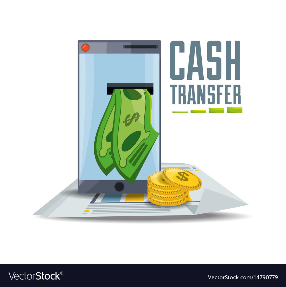 Smartphone with bill and coins online payment vector image