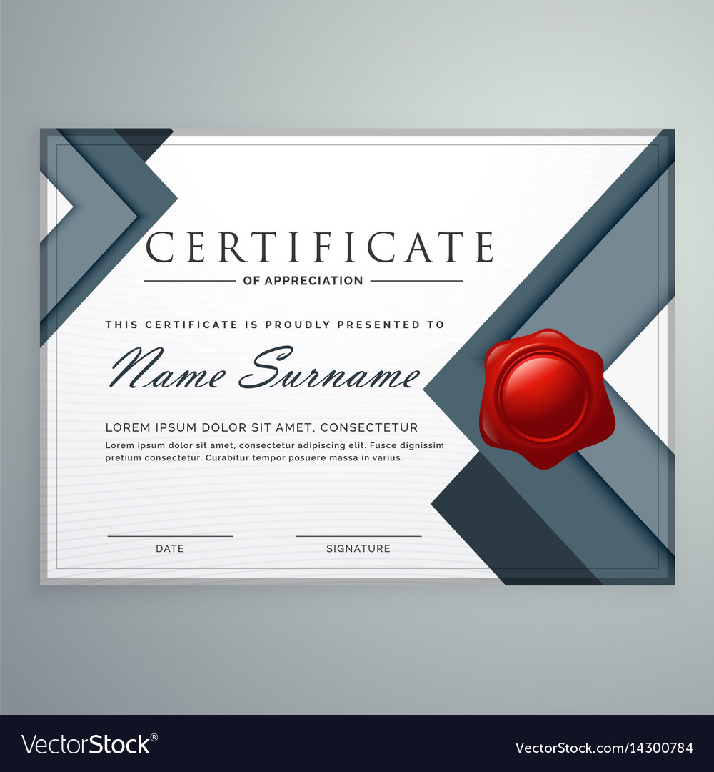Amazing Modern Certificate Template Design With Vector Image