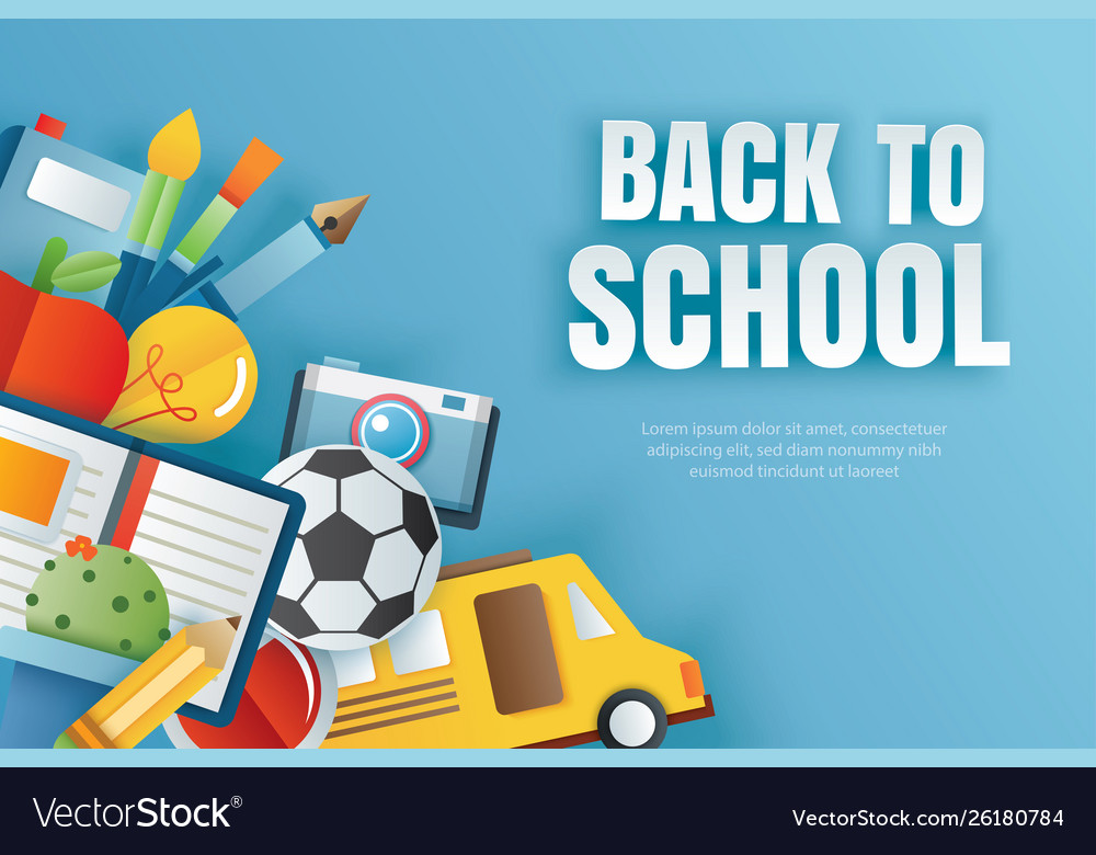 Back to school banner with education items on