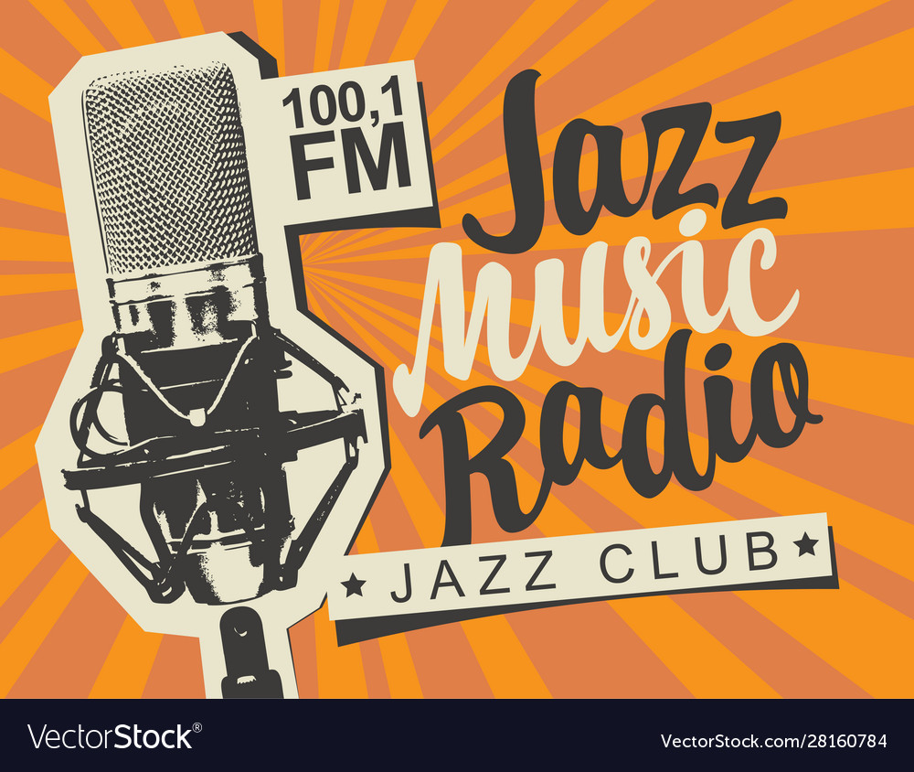 Banner for jazz music radio with studio microphone