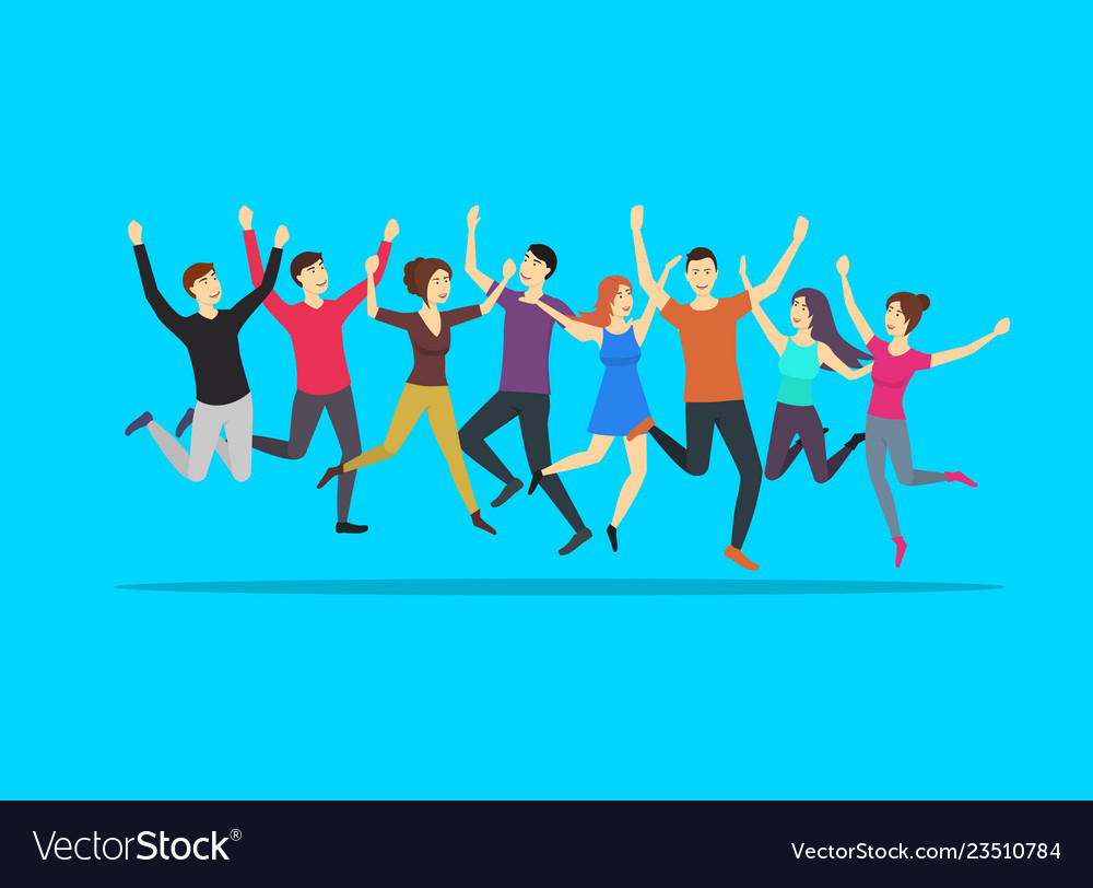 Cartoon color jumping characters people on a blue