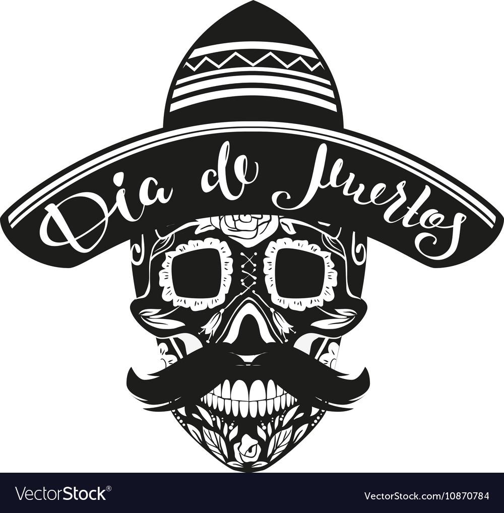 Dia de Muertos Day of Dead Black Skull in Mexican
