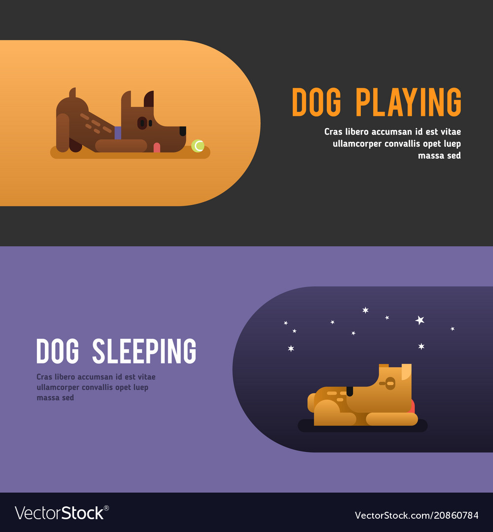 Dog playing dog sleepeing web banner template