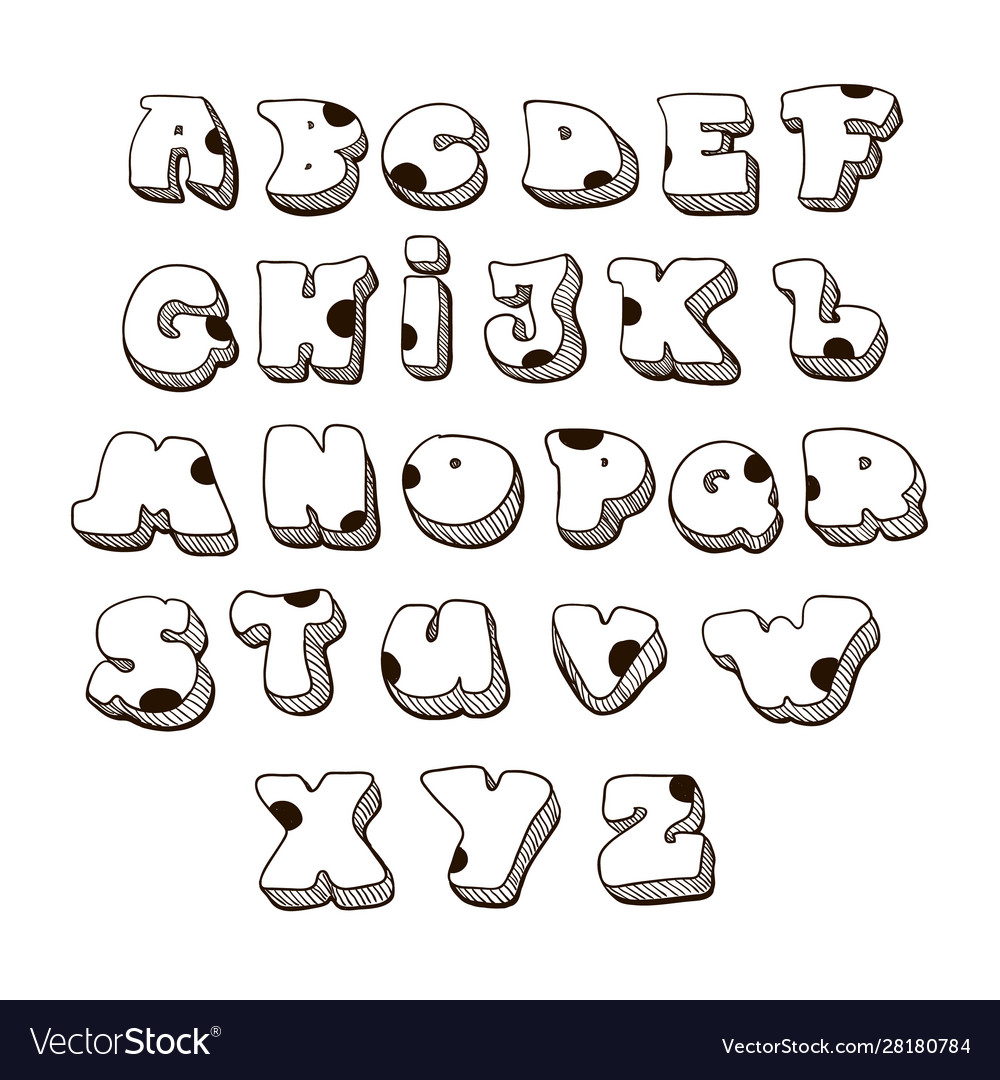 Doodle font family comic alphabet fat vector