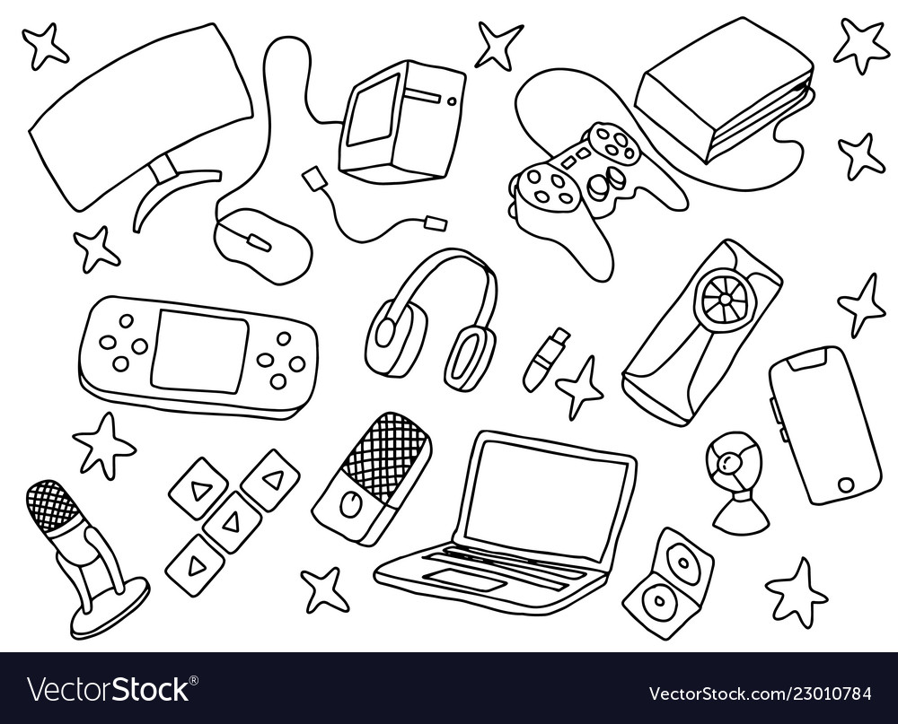 Doodle games game art with gaming tools hardware