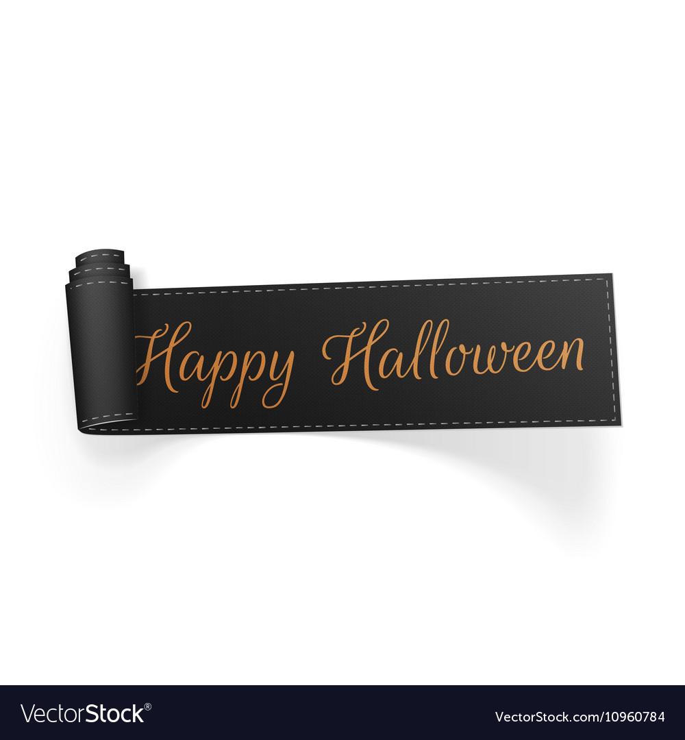 Halloween scroll black greeting Ribbon vector image
