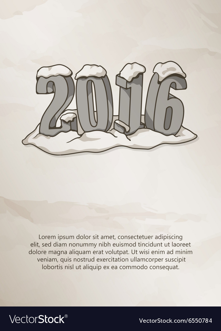 Happy new year 2016 card on grunge background vector image