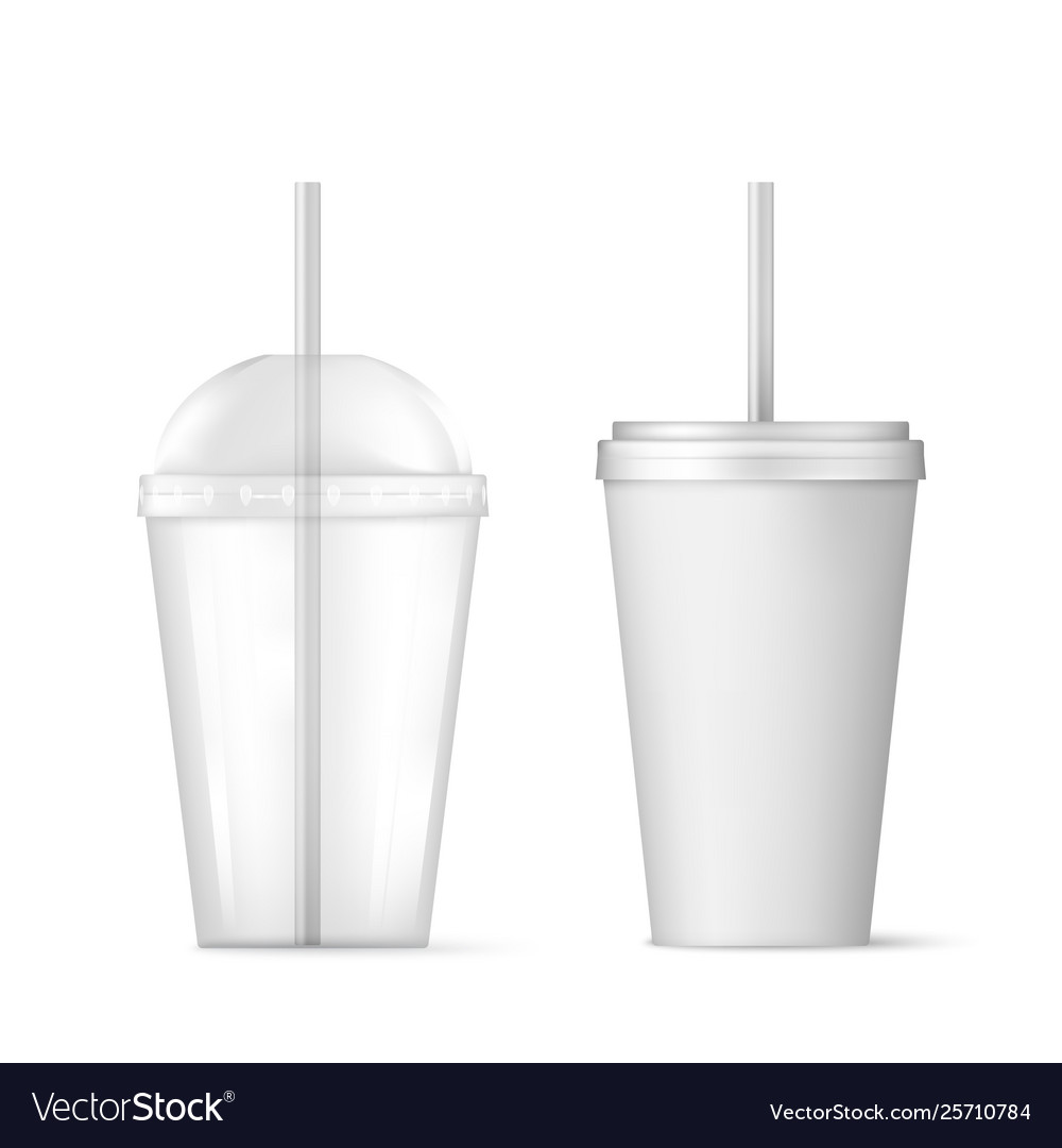 Plastic transparent disposable cup with straw for