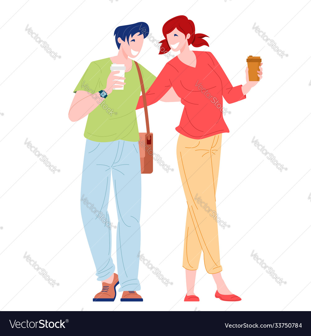 Romantic couple young woman and man walking