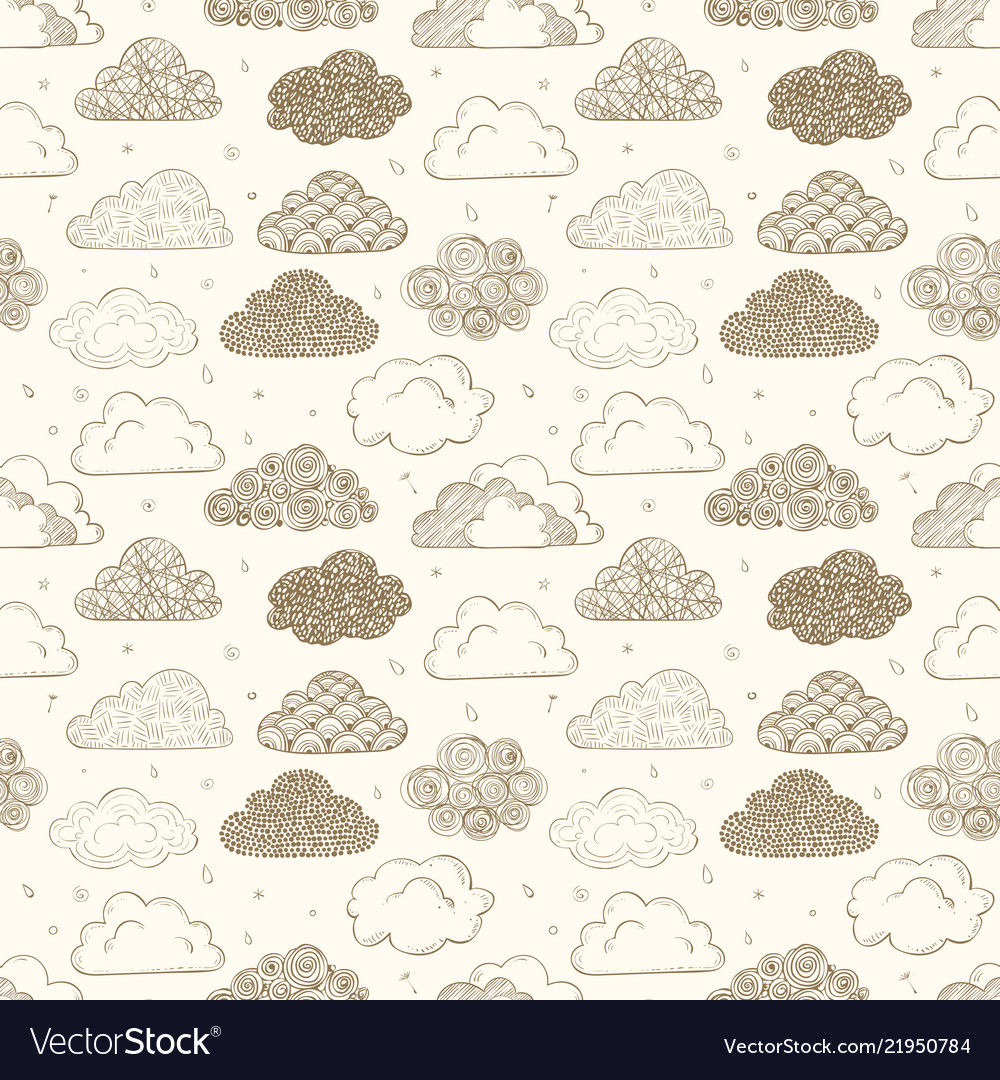 Seamless background with beige doodle clouds can