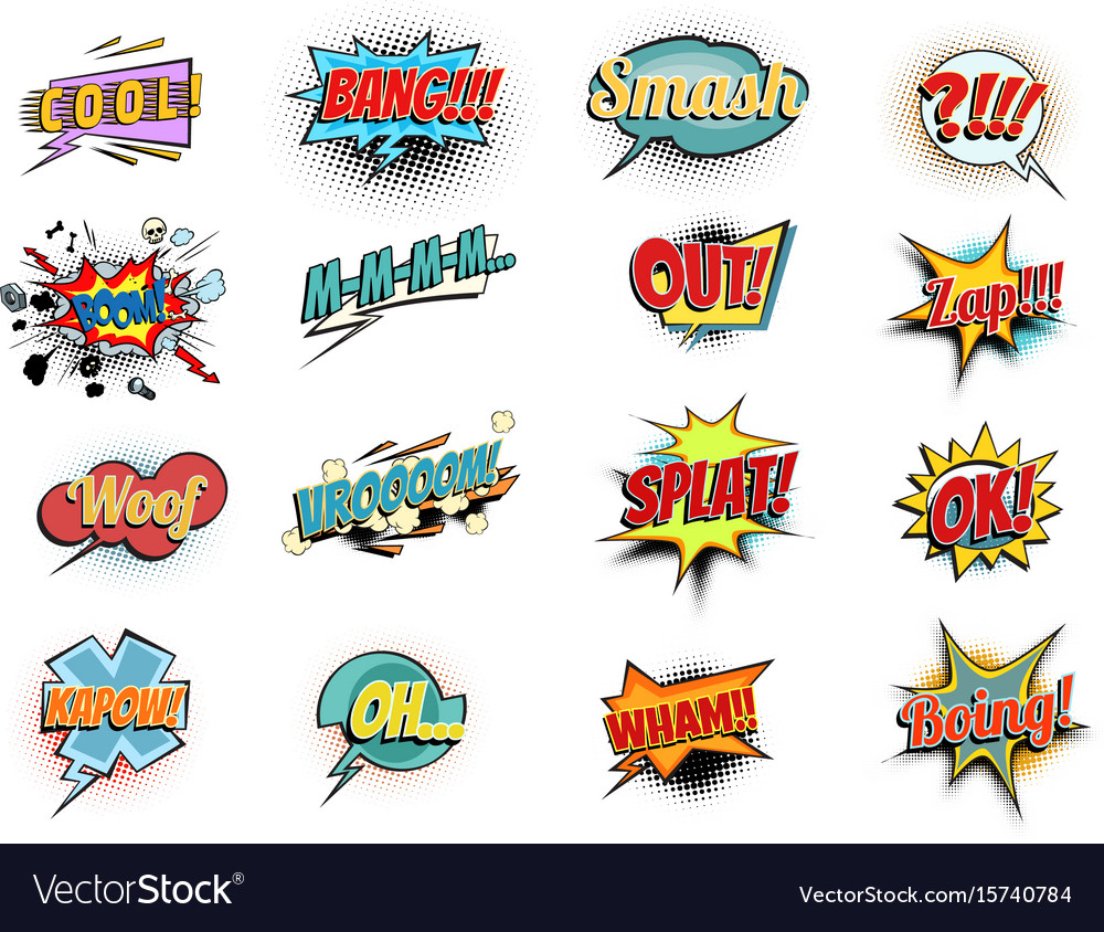 Set collection comic phrases words vector image
