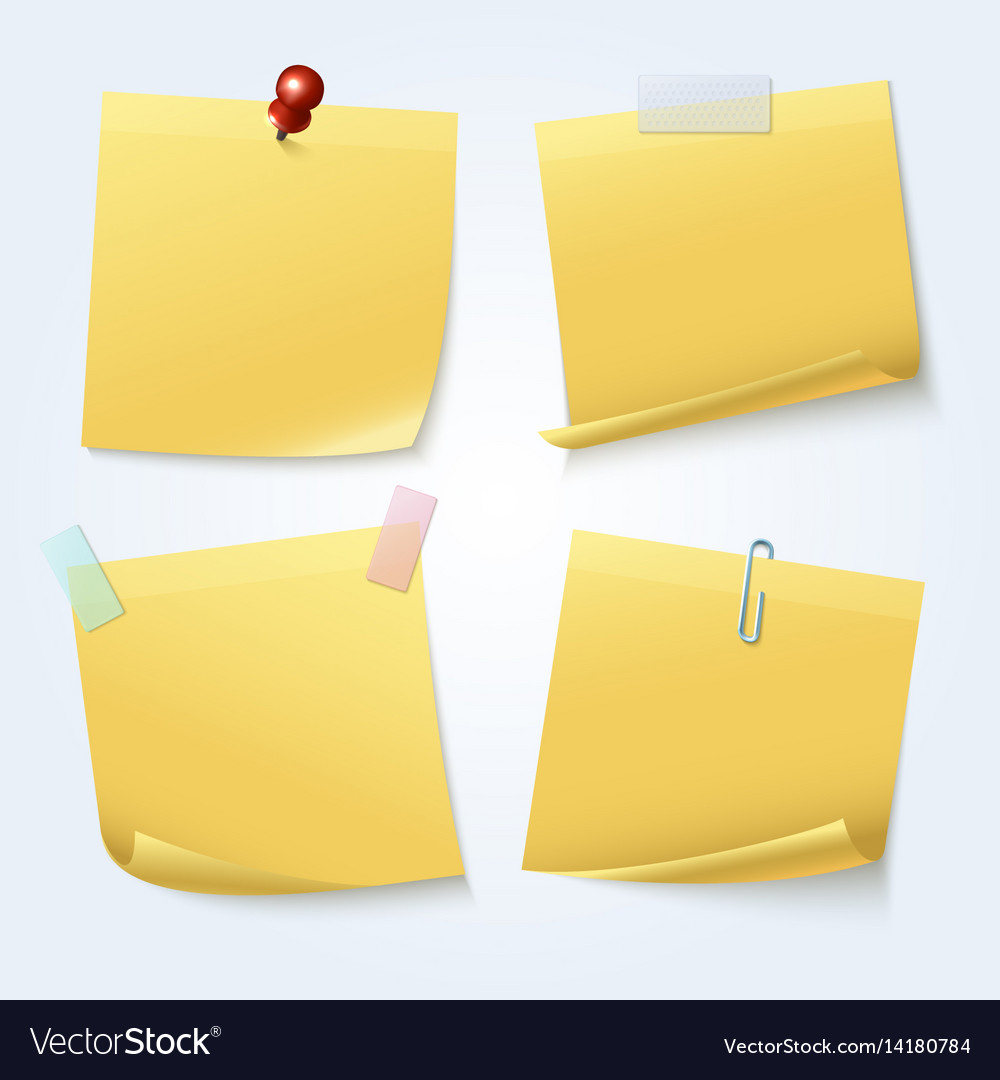 Sticky note pages yellow papers set