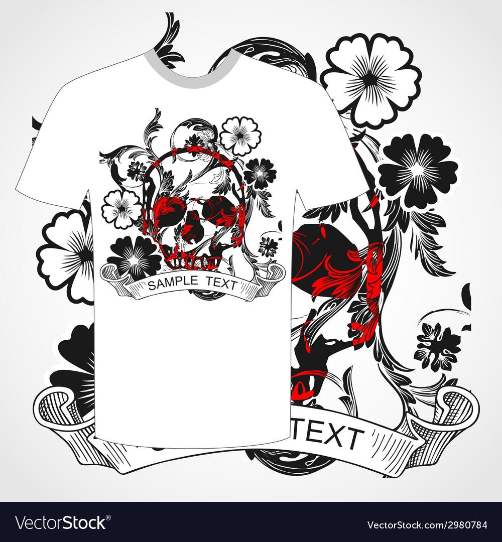 Tshirt skull and flower