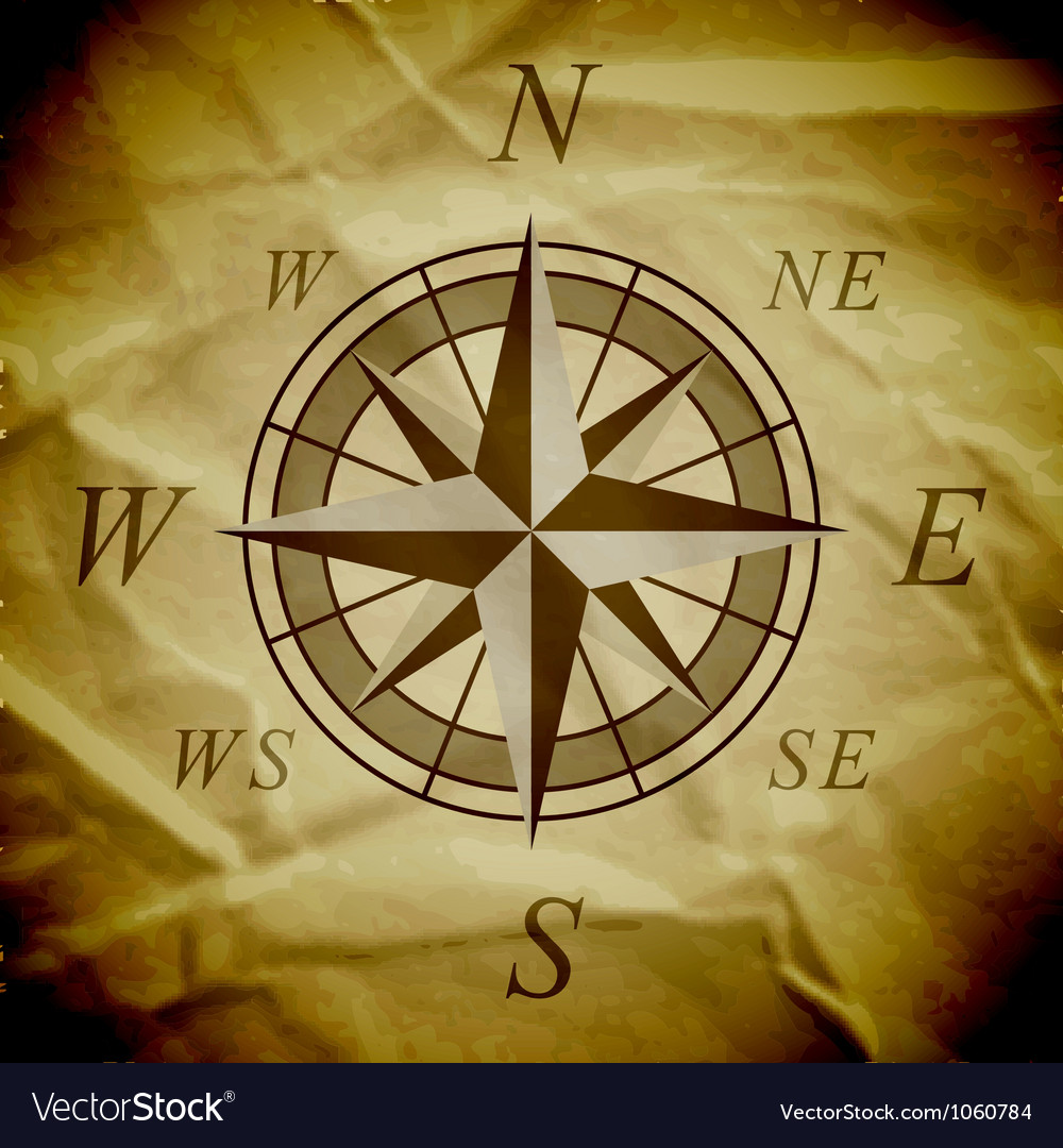 Wind rose on an old paper vector image