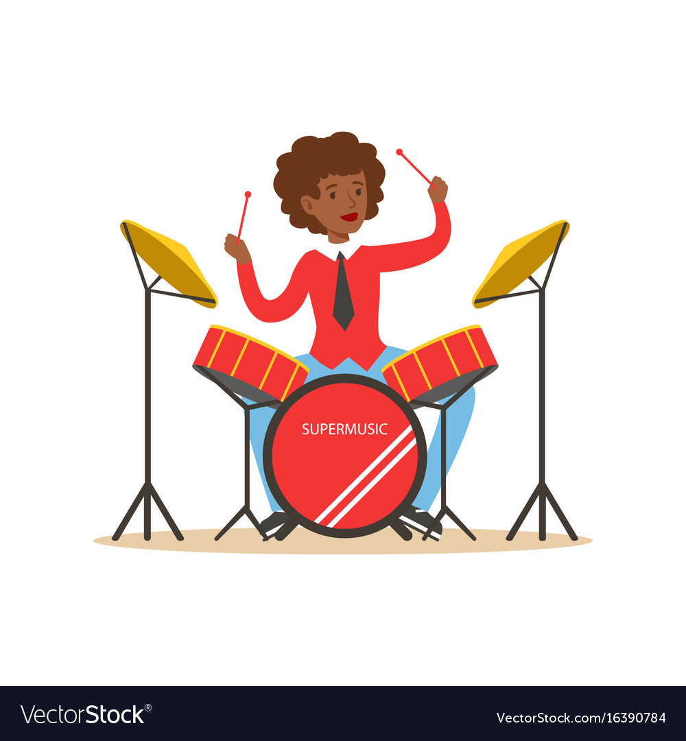 Young black woman playing on drums guy behind the