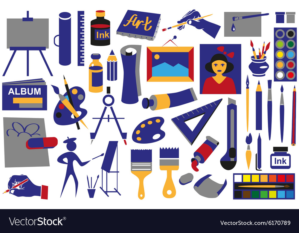 Attributes art icons vector image