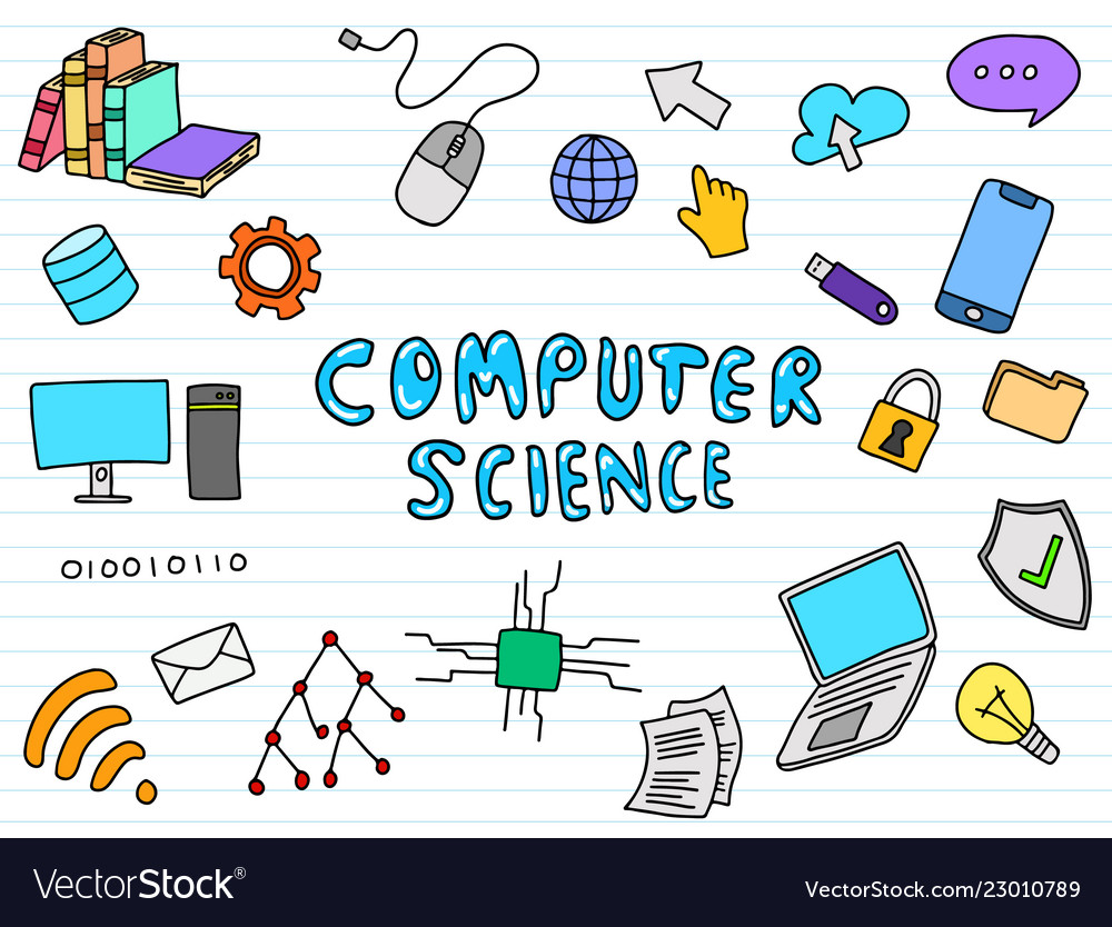 Computer Science Engineering Education Doodle Art Vector Image