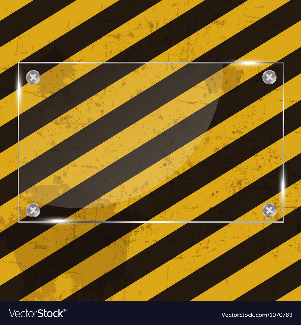 Glass frame on grunge striped cunstruction vector image