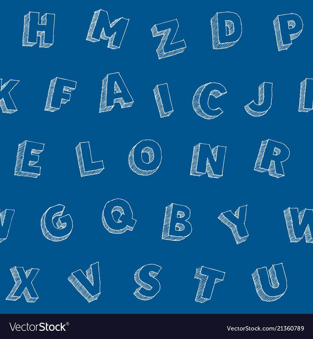 Hand drawn letters alphabet seamles pattern