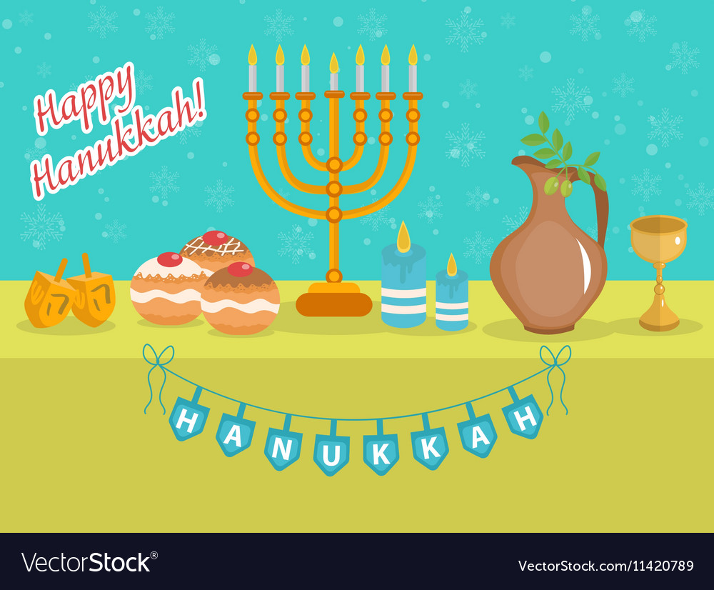Happy hanukkah greeting card invitation poster vector image m4hsunfo