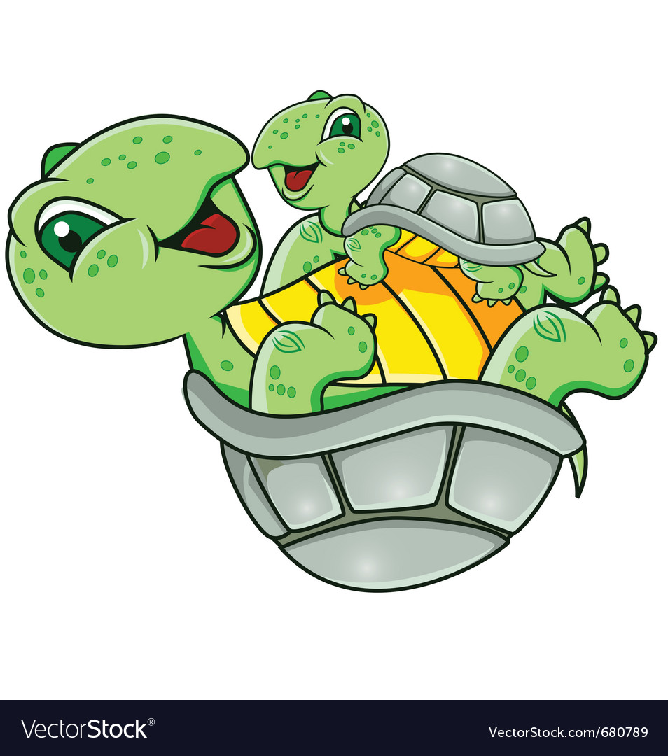 Mother And Baby Turtle Royalty Free Vector Image