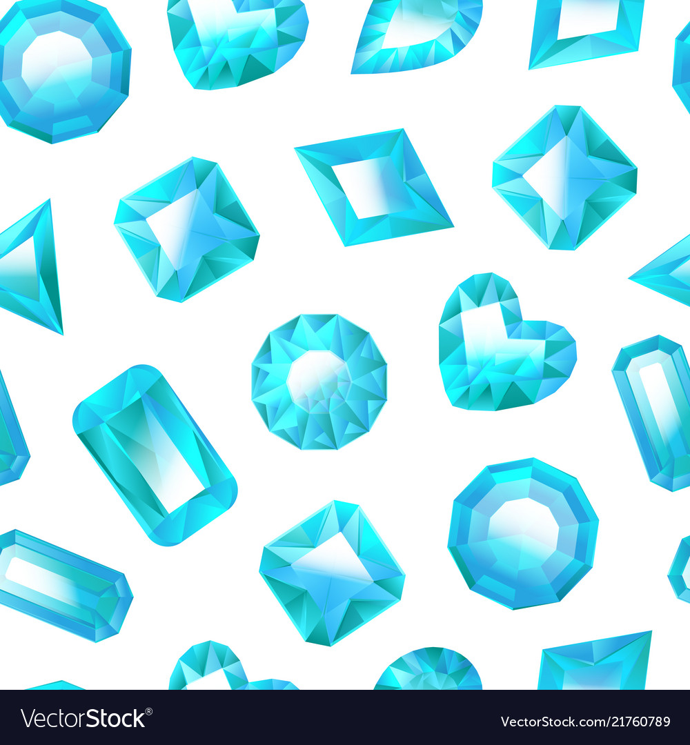 Realistic detailed 3d blue jewels seamless pattern