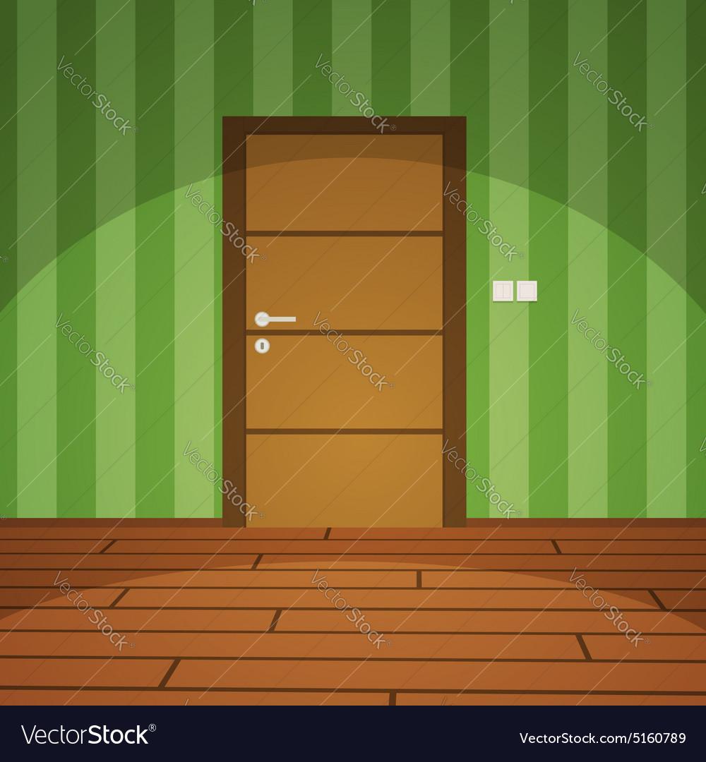 Room With Door - Green vector image
