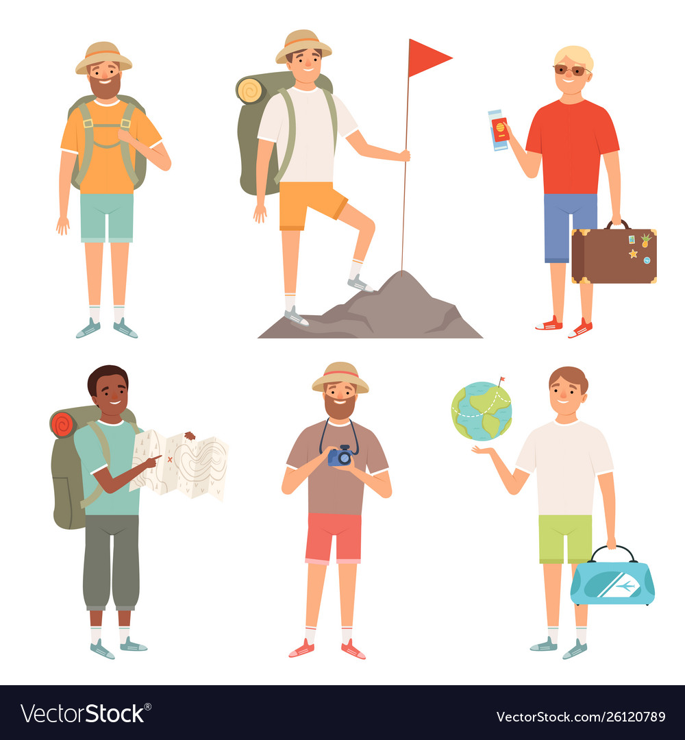 Tourist outdoor characters travellers hiking