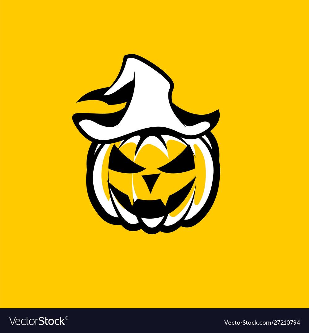 Black White Halloween Pumpkin With Vampire Face In