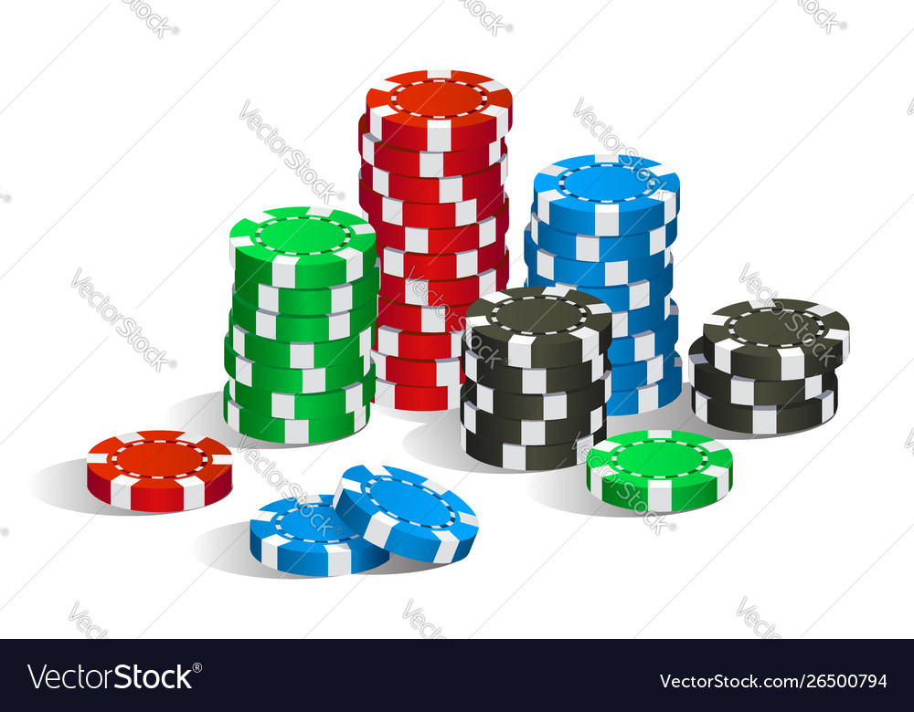 Colorful red green blue and black casino chips