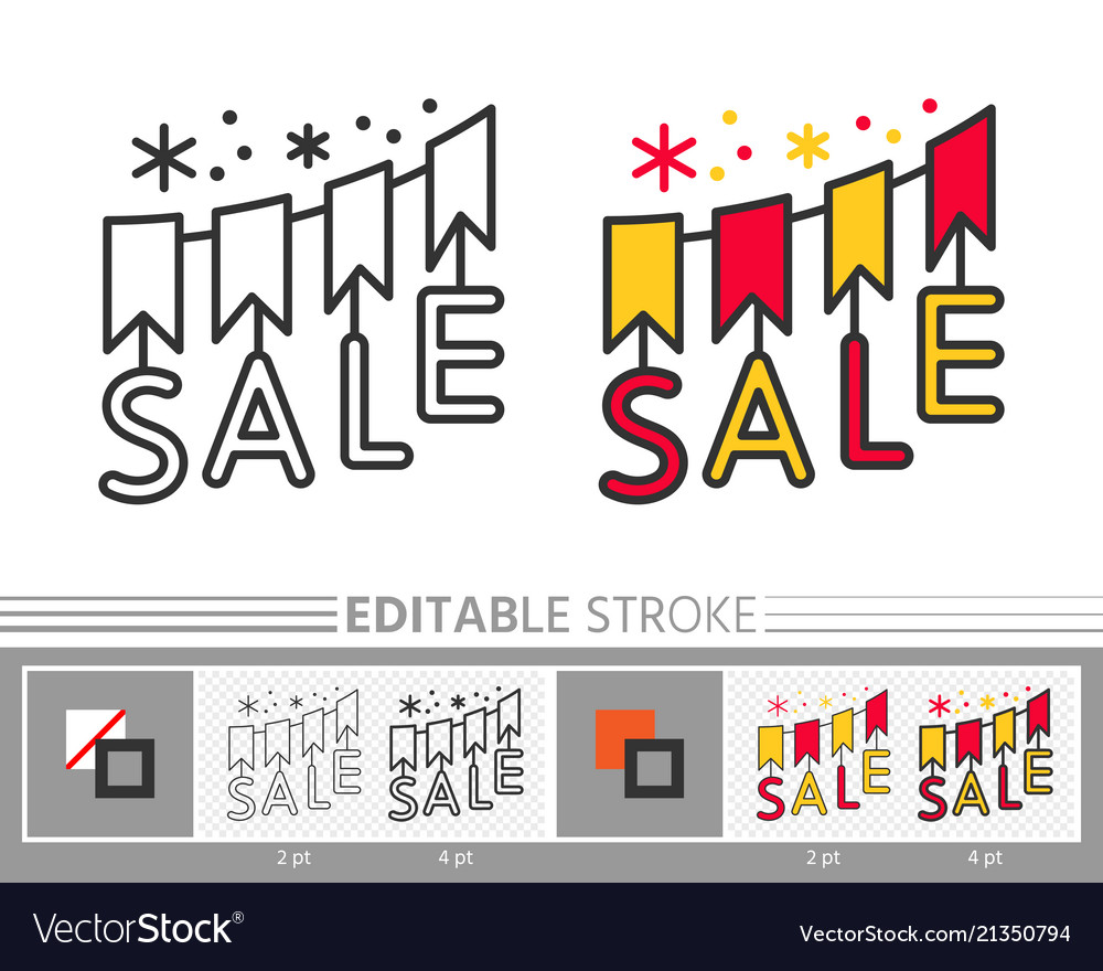 Flags garland sale banner editable line icon