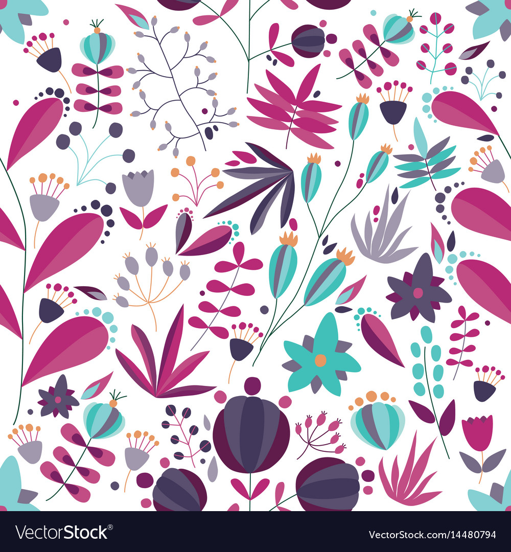 Floral seamless pattern with flowers and plants in