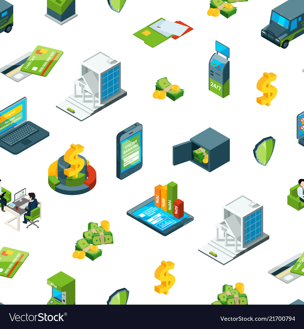 Isometric money in bank icons pattern