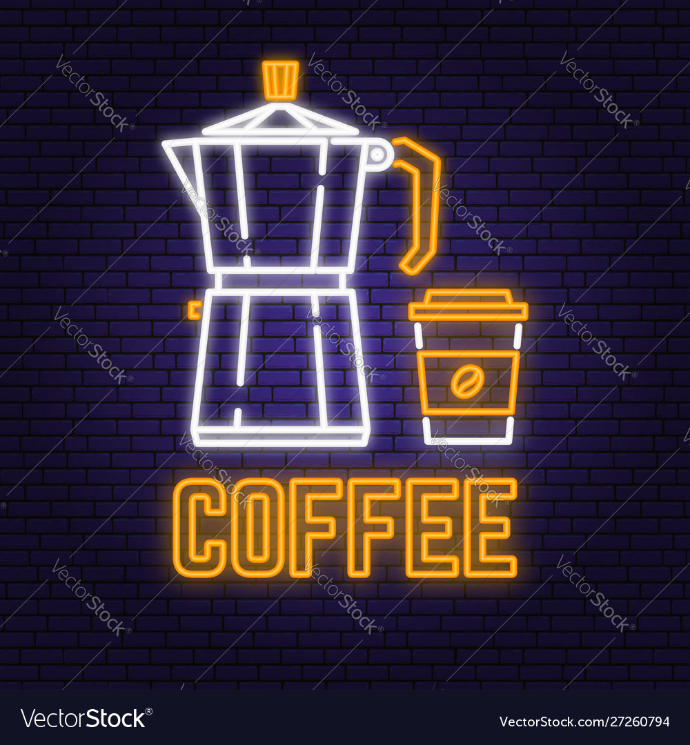 Neon coffee retro sign on brick wall background