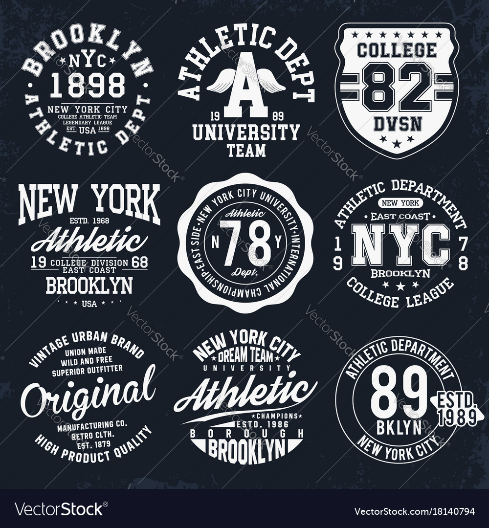New york brooklyn typography badges set for