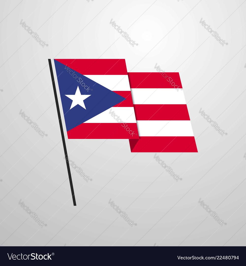 Puerto Rico Waving Flag Design Background Vector Image