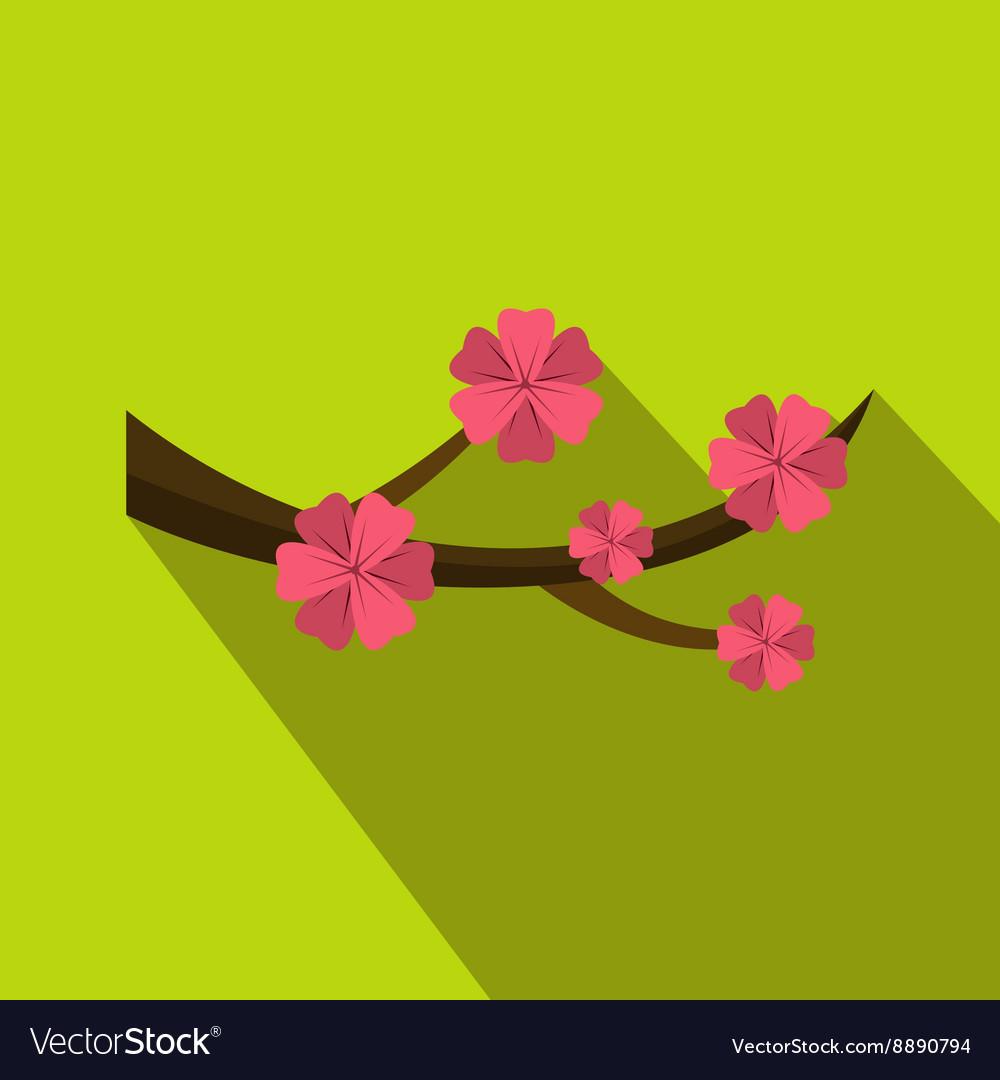 Sakura flowers icon flat style