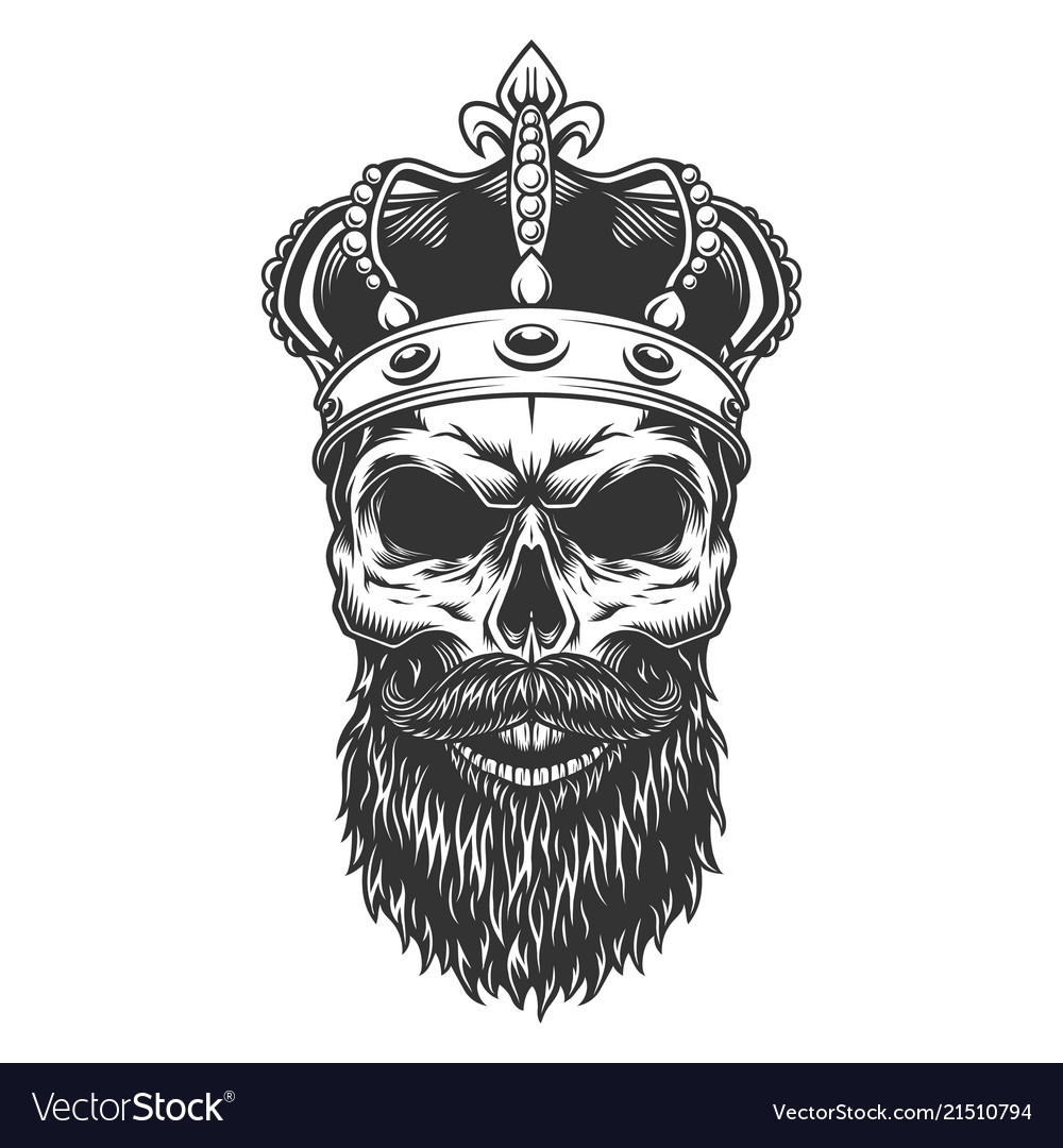 Skull with beard in crown