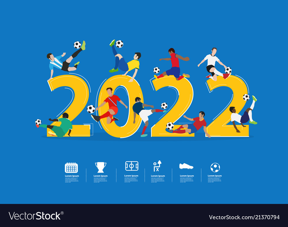 Soccer players in action on 2022 new year