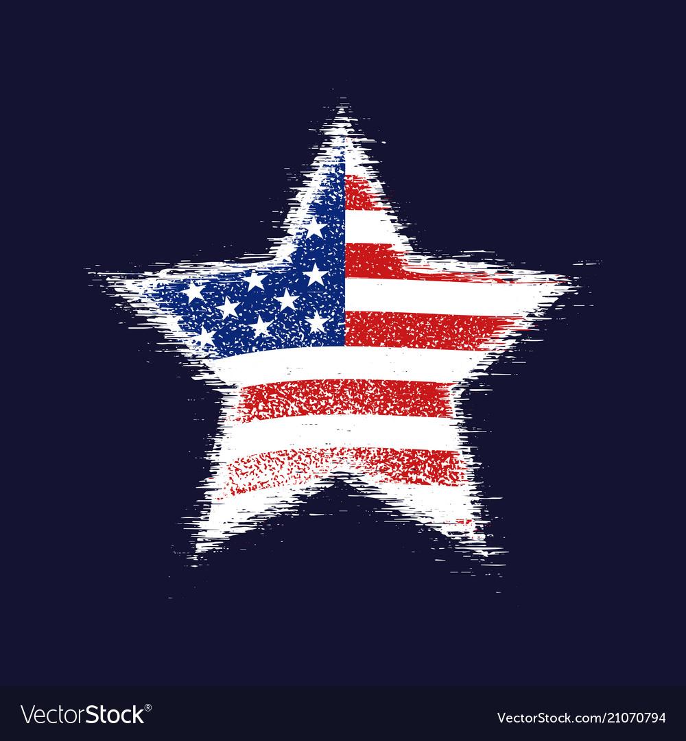 Star in american flag