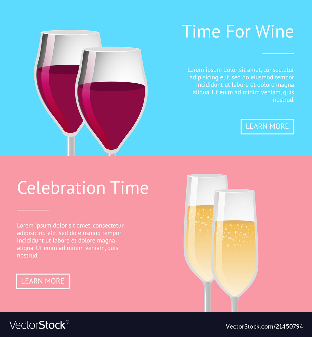 Time for celebration with wine set of web posters