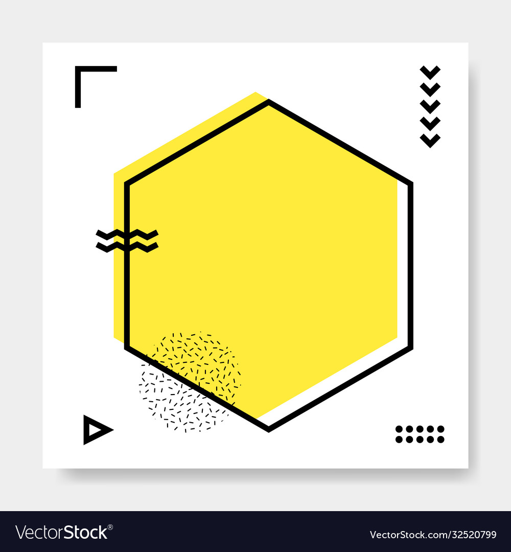 Abstract geometric frame memphis square cards