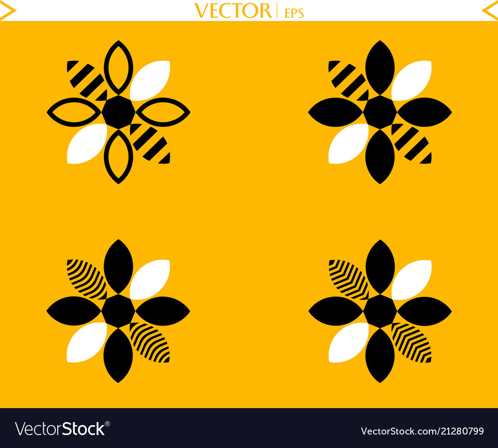 Bees flower logos collection