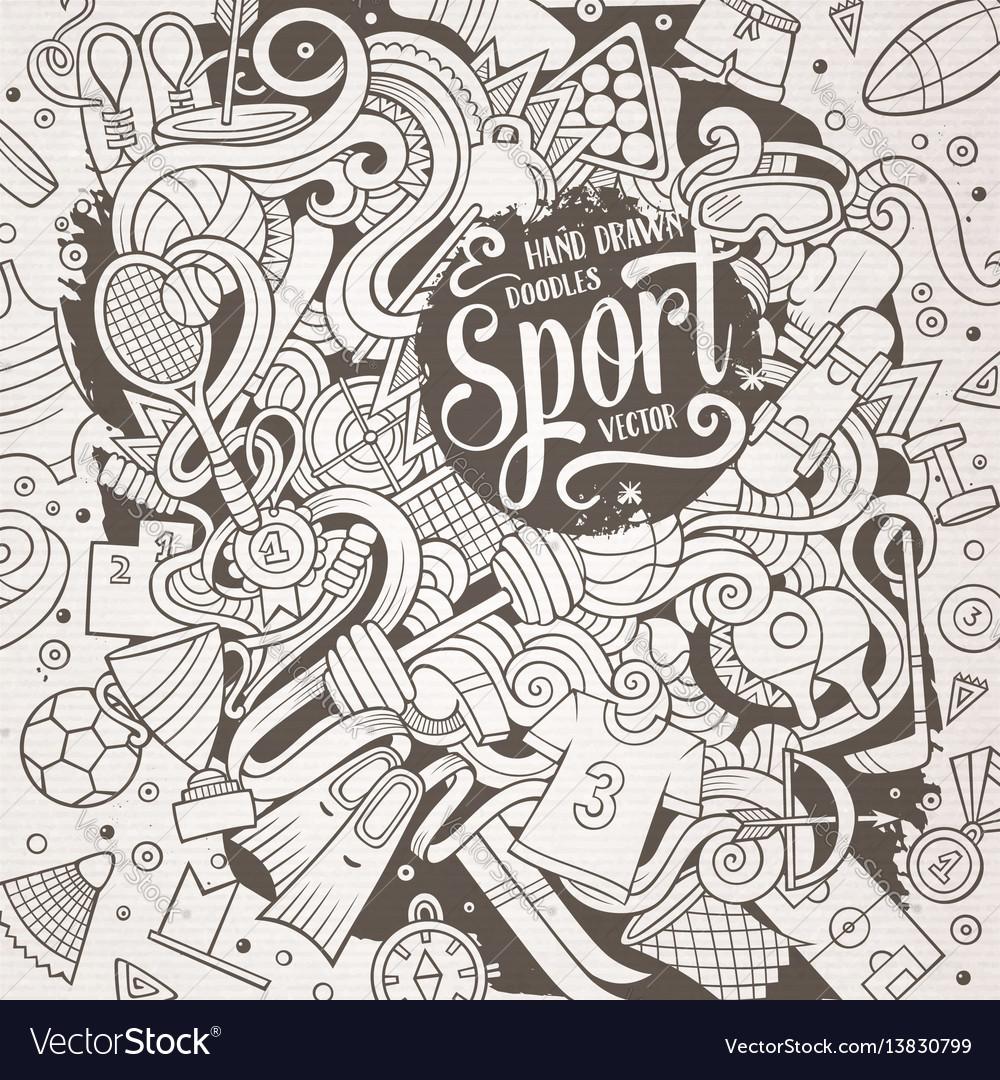 Cartoon cute doodles hand drawn sport