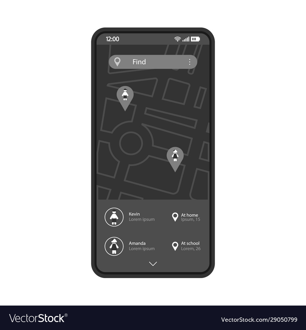 Child tracking smartphone app interface template