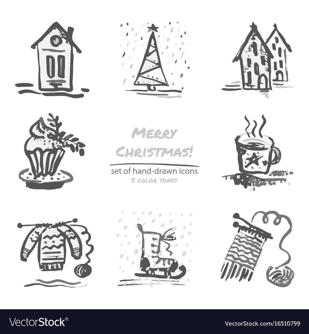 Christmas hand drawn sketch icons on white