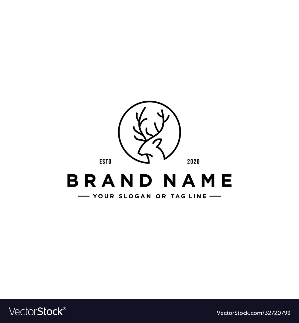 Deer line art logo design